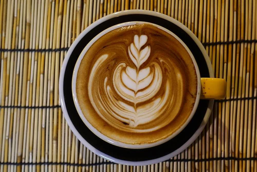 Latte Art, Cappuccino with artfully decorated milk foam in the cup, Bangkok