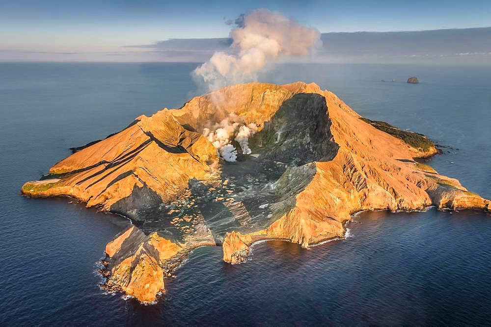 Aerial view of the volcanic island White Island with view into the crater, rising steam, morning mood, Whakaari, volcanic island, Bay of Plenty, North Island, New Zealand, Oceania