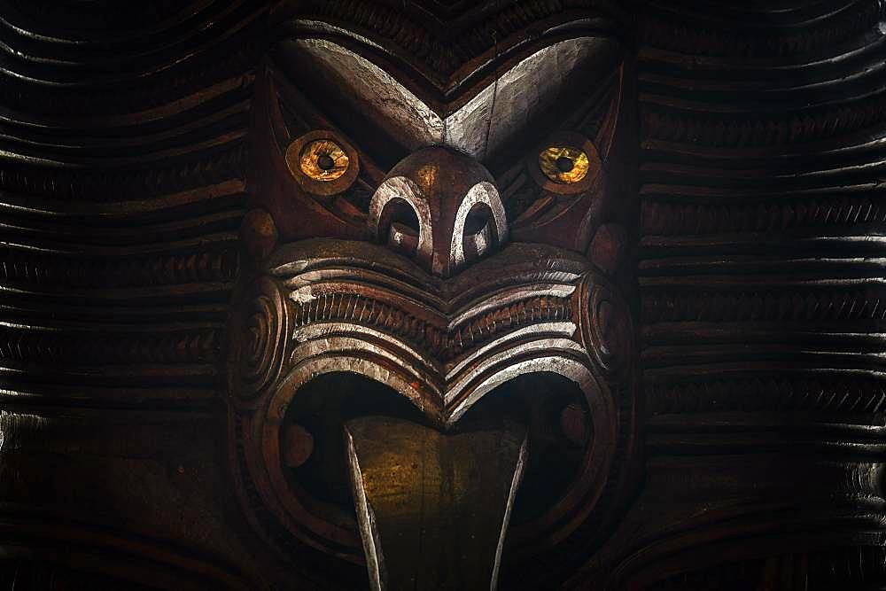 Traditionally carved Maori figure, face, Waitangi, Far North District, Northland, North Island, New Zealand, Oceania