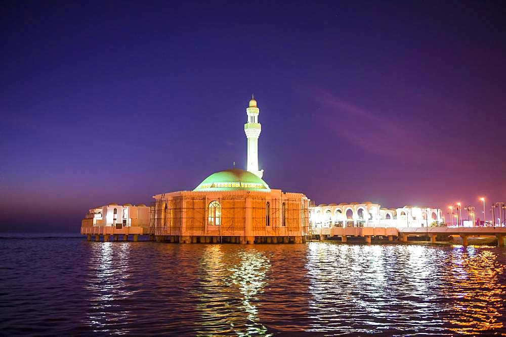 Night shot of Al Rahma Mosque or Floating mosque, Jeddah, Saudi Arabia, Asia