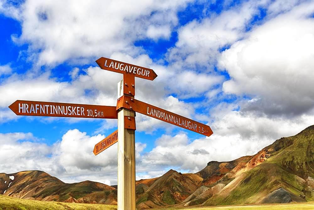Signpost on the hiking trail Laugavegur, Landmannalaugar, Highlands, Iceland, Europe