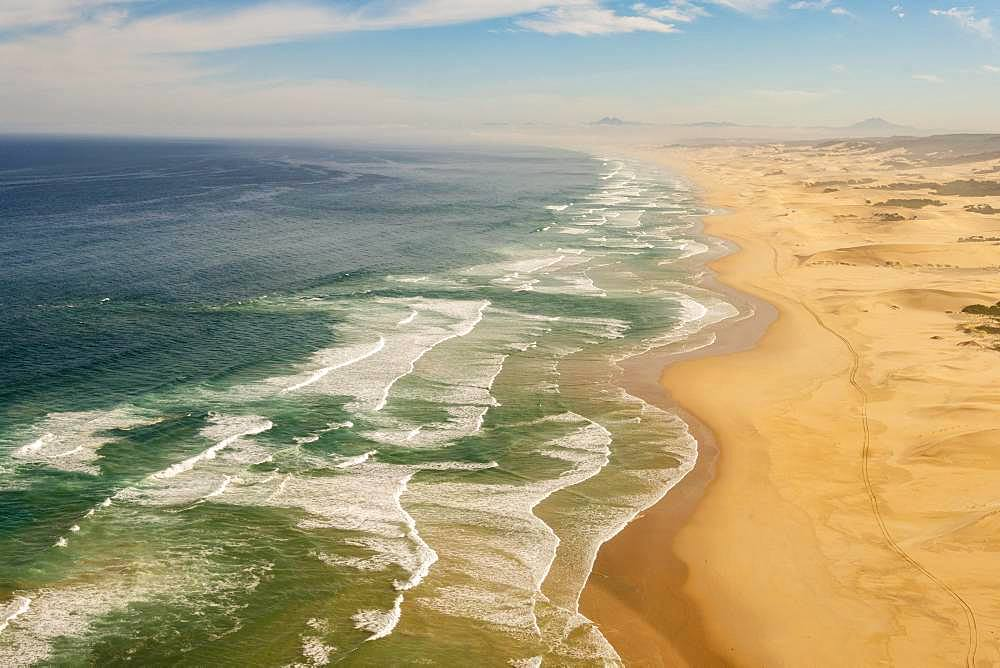 Aerial view, long coastline along sand dunes with waves, Atlantic Ocean, West Coast, South Africa, Africa