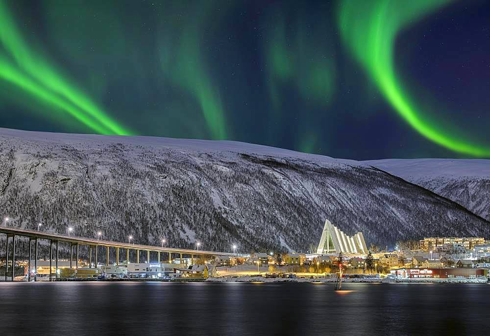 Fjord with bridge to Arctic Sea Cathedral, Northern Lights, Tromso, Norway, Europe
