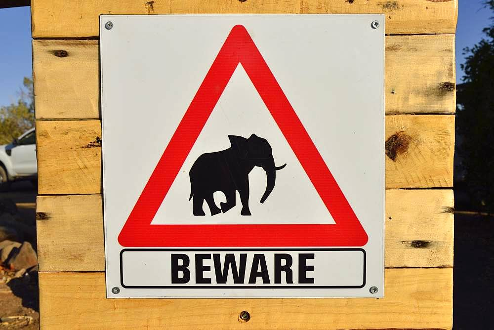 Warning sign for elephants, Palmwag Concession, Damaraland, Namibia, Africa