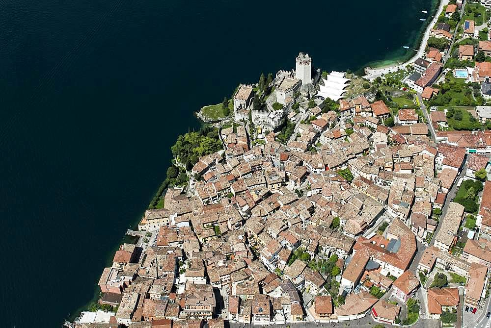 Old Town and Castello di Malcesine, Malcesine on Lake Garda, aerial view, Province of Veneto, Italy, Europe - 832-385297