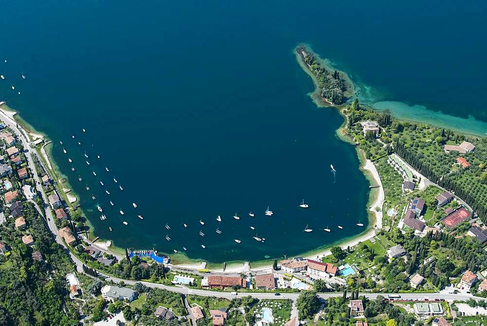 Bay, Val di Sogno near Malcesine on Lake Garda, aerial view, Province of Veneto, Italy, Europe