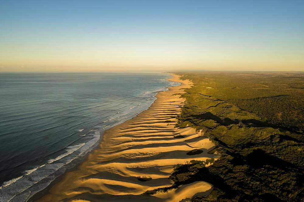 Aerial view, long coast along sand dunes, Wild Coast, Indian Ocean, Amathole, Eastern Cape, South Africa, Africa