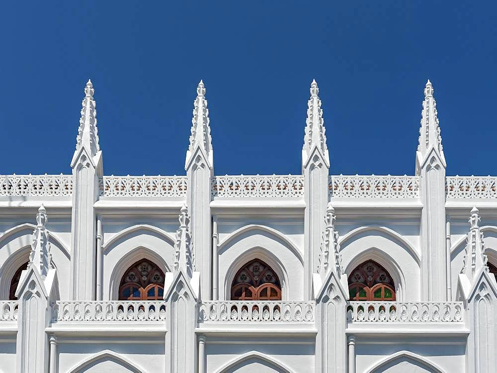 Architectural detail of St. Thomas Cathedral Basilica, San Thome Church, Chennai, India, Asia