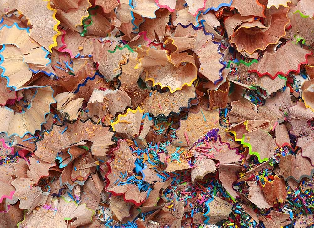 Sharpener dirt, shavings from coloured pencils, Germany, Europe