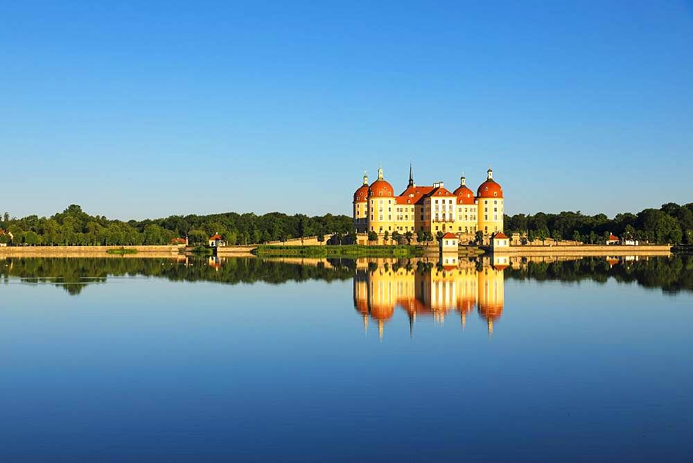Moritzburg Castle, water reflection in the lake, Saxony, Germany, Europe