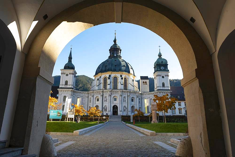 Archway to the inner courtyard with Ettal Monastery, Baroque Benedictine Abbey, Ettal, Upper Bavaria, Bavaria, Germany, Europe