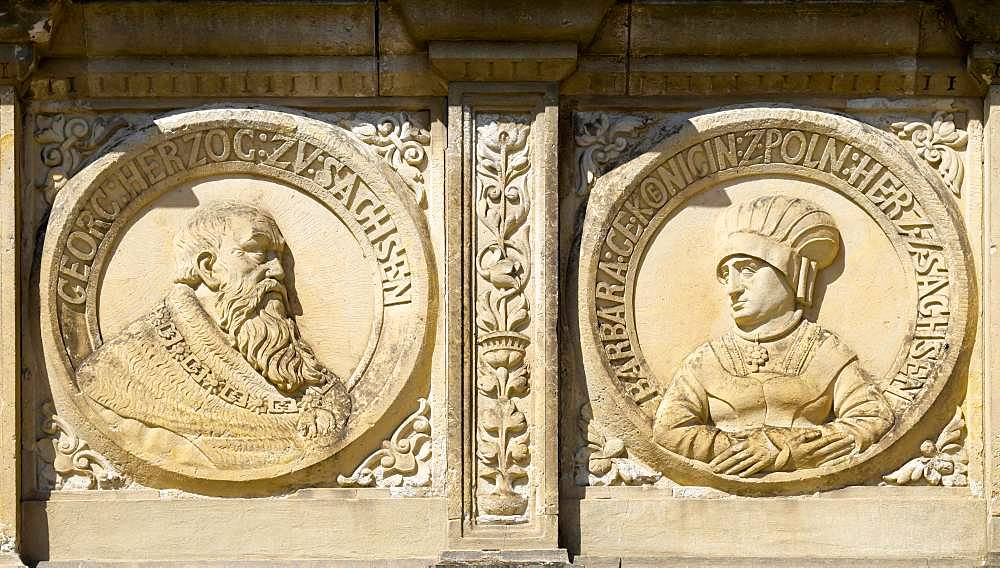 Relief, portrait of Duke George the Bearded and his wife Barbara, a Polish princess, at the town hall, Oschatz, Saxony, Germany, Europe