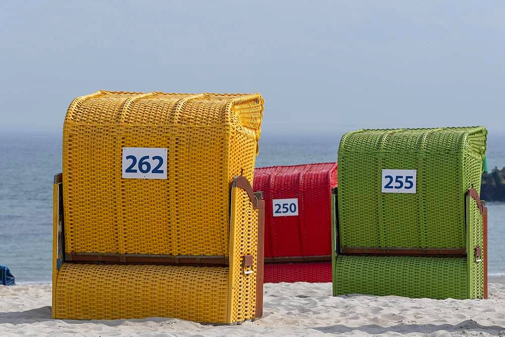 Colorful beach chairs, Helgoland, island Duene, Schleswig-Holstein, Germany, Europe