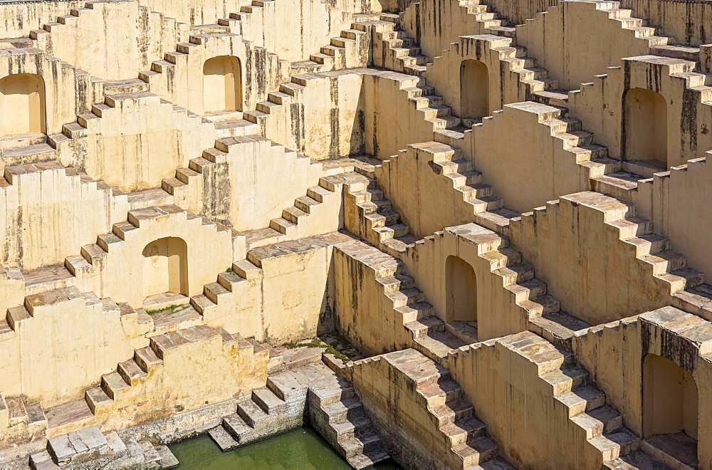 Staircases of Panna Meena ka Kund stepwell, Amber near Jaipur, Rajasthan, India, Asia