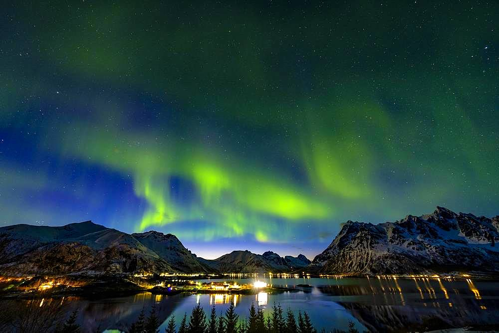 Aurora Borealis, northern lights above Laupstad, Austvagoy, Lofoten, Norway, Europe