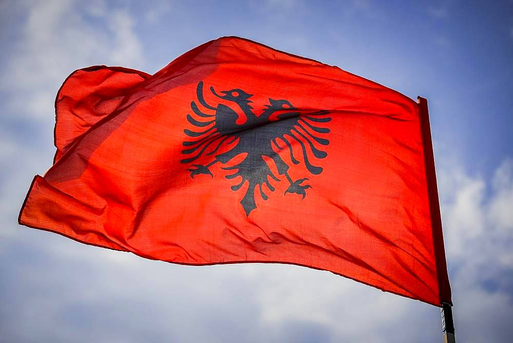 Waving Albanian flag with double eagle in front of blue sky, Albania, Europe