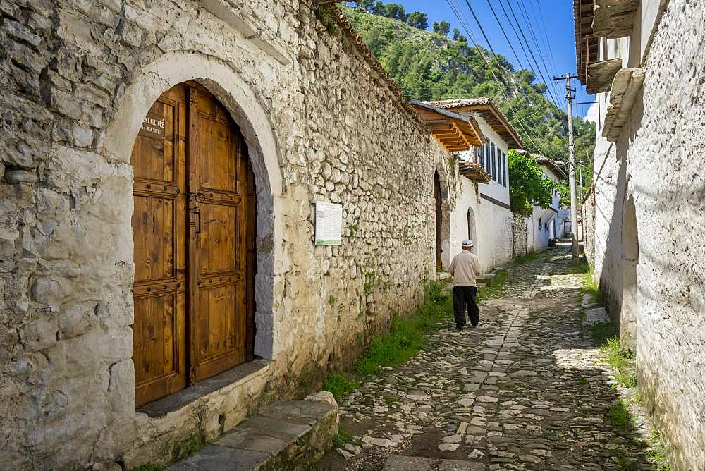 Paved house alley, Gorica district, Berat, Albania, Europe