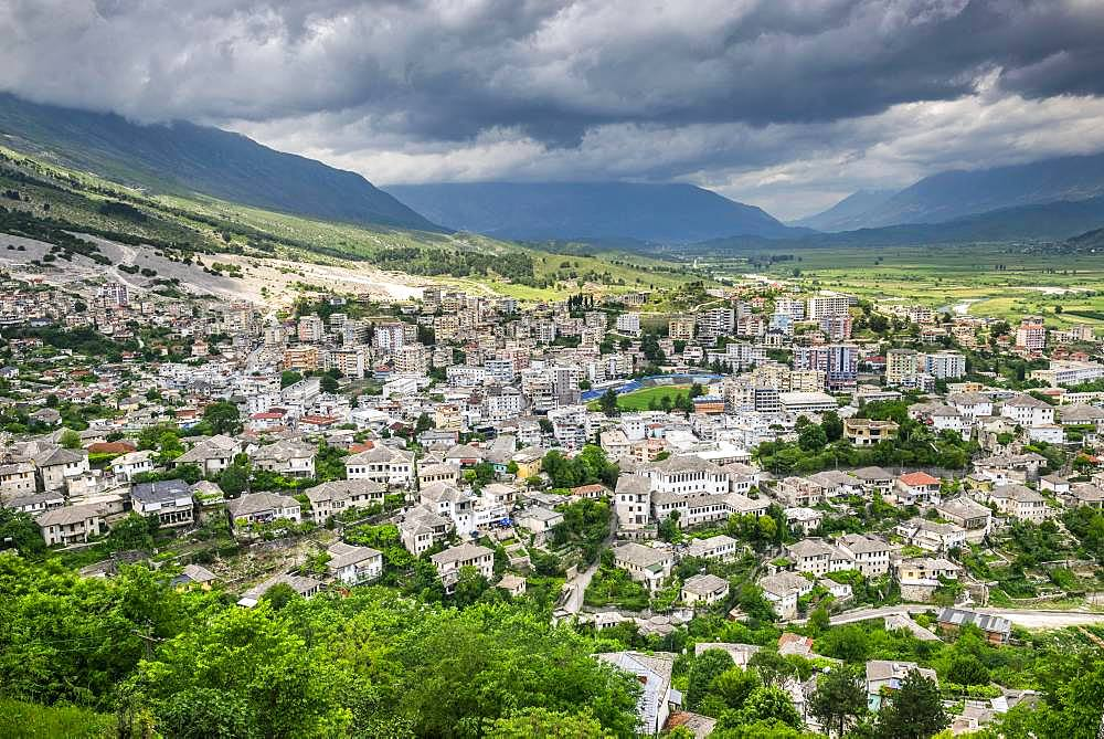 View from the castle over the city, Gjirokastra, Albania, Europe