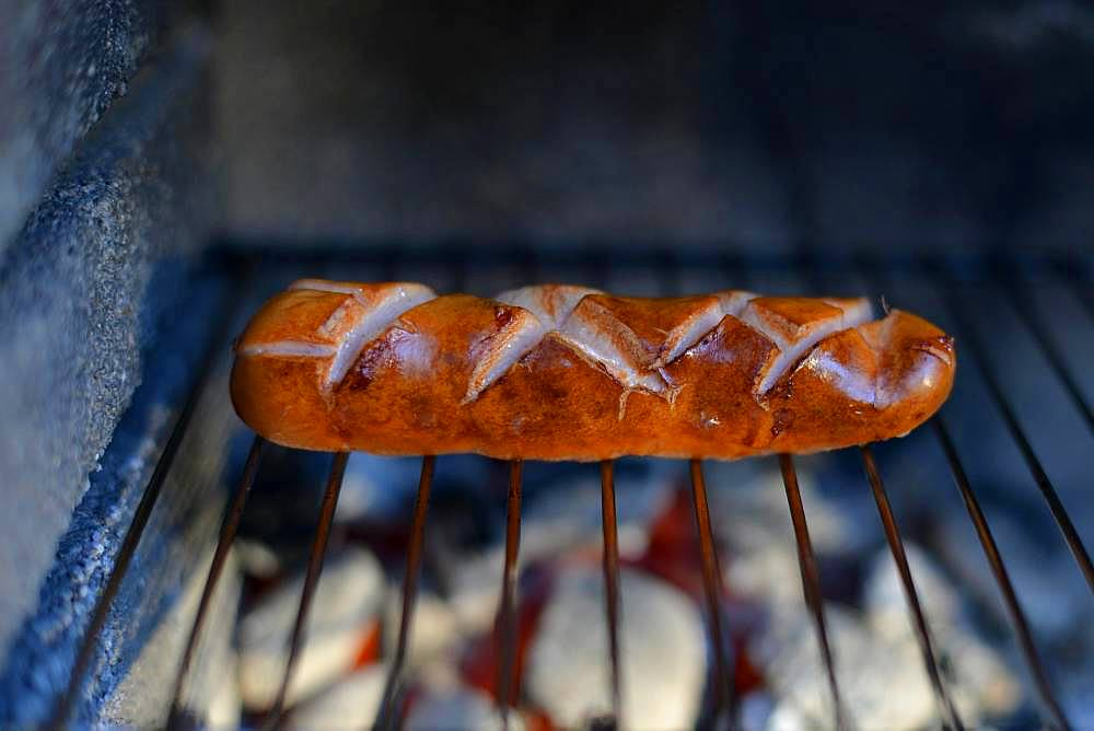 Stuttgart red sausage on grill, Stuttgart, Baden-Wuerttemberg, Germany, Europe