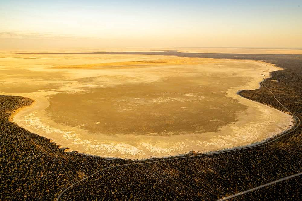 Aerial view, dried-out salt lake, eastern edge of the Etosha Pan, Etosha National Park, Namibia, Africa