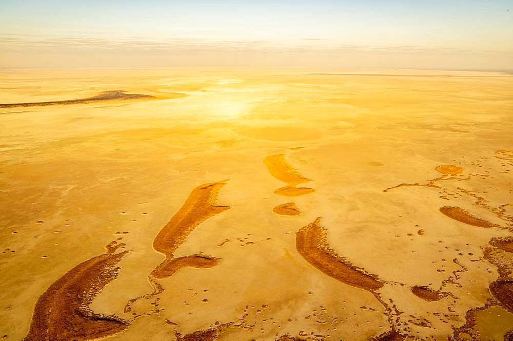 Aerial view, dried-out salt lake, Etosha pan, Etosha National Park, Namibia, Africa