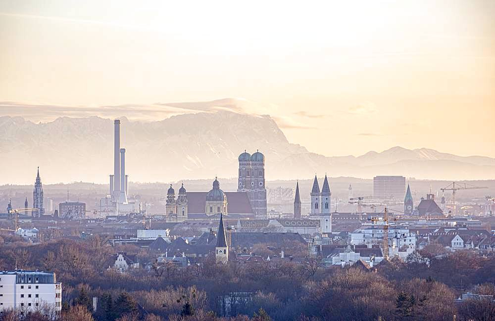 View over Munich with Church of Our Lady, Theatine Church, Ludwigskirche, in the back Zugspitze, Munich, Upper Bavaria, Bavaria, Germany, Europe