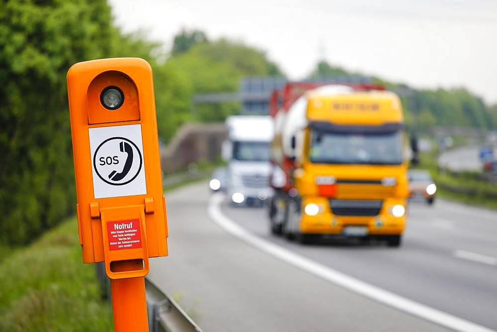 SOS emergency call point on the A2 motorway, North Rhine-Westphalia, Germany, Europe