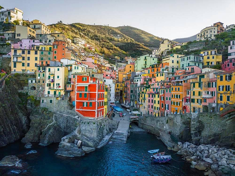 Riomaggiore, aerial view, colorful houses, port, Cinque Terre, Liguria, Italy, Europe