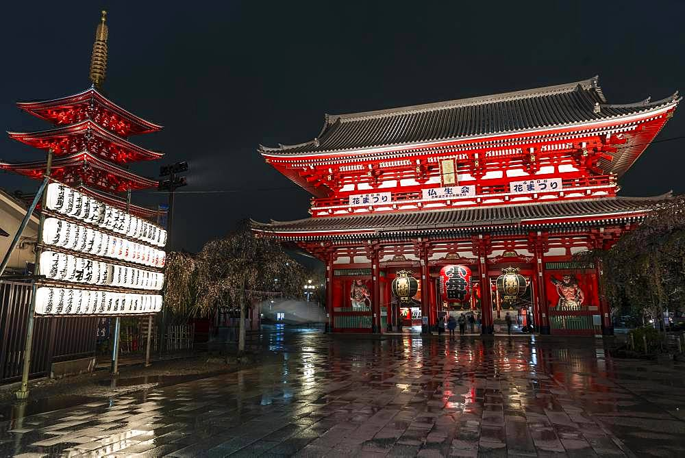 Night photo, Hozomon Gate and five-storey pagoda of Sensoji, Buddhist temple complex, Senso-ji temple or Asakusa shrine, Asakusa, Tokyo, Japan, Asia
