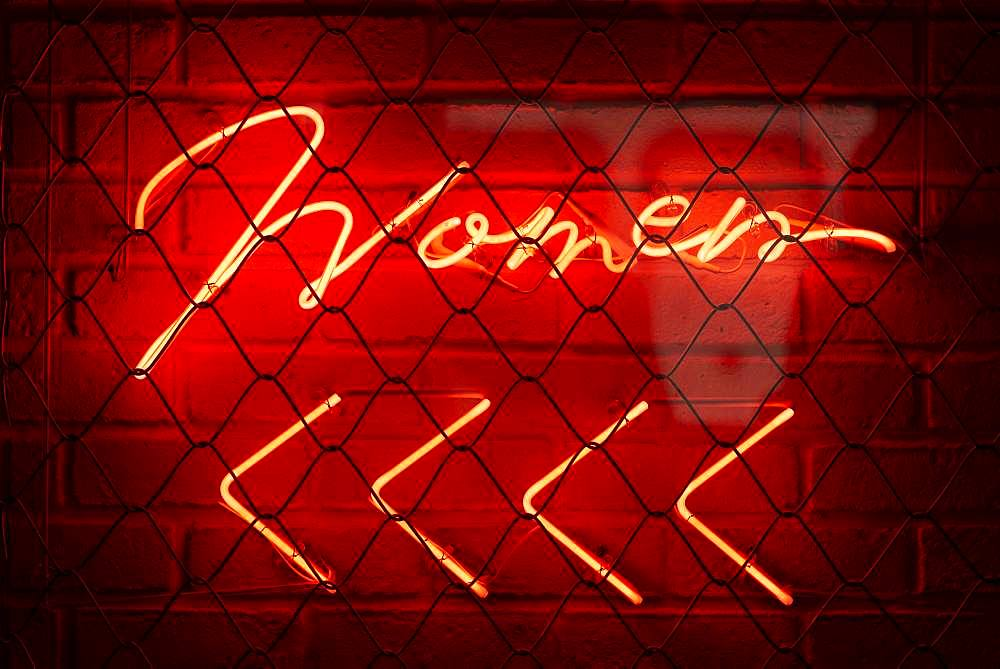 Reference to WC, Women, Women illuminated sign with red background, Tokyo, Japan, Asia