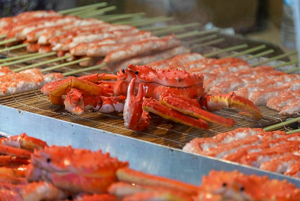 Grilled crabs at a food stand, Hanami Fest, Ueno Park, Tokyo, Japan, Asia