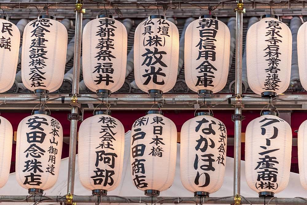 White lanterns with Japanese characters at Shinobazunoike Bentendo Temple, Ueno Park, Tokyo, Japan, Asia
