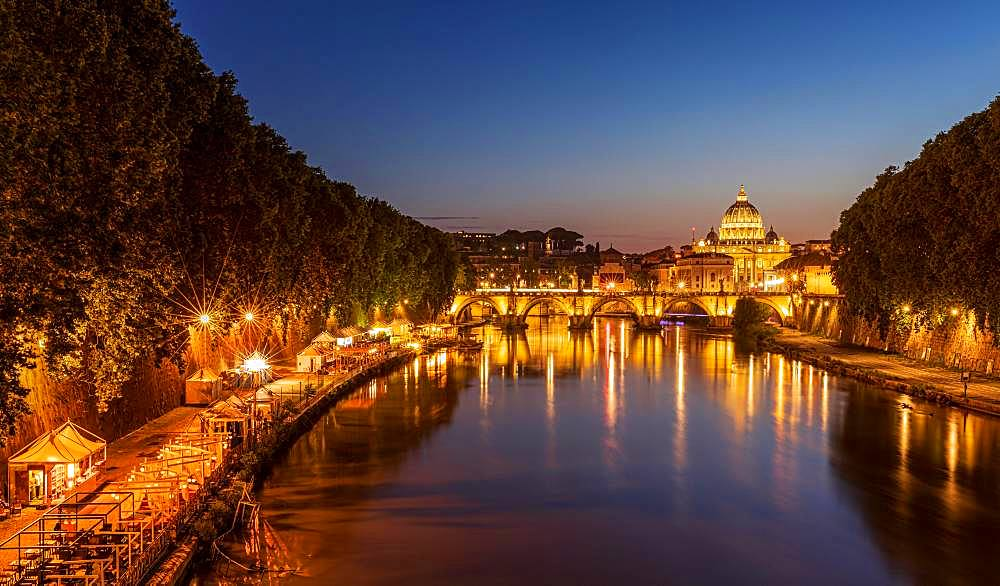 Saint Peter's Basilica with Sant' Angelo's Bridge over Tiber at sunset, Rome, Italy, Europe - 832-385605