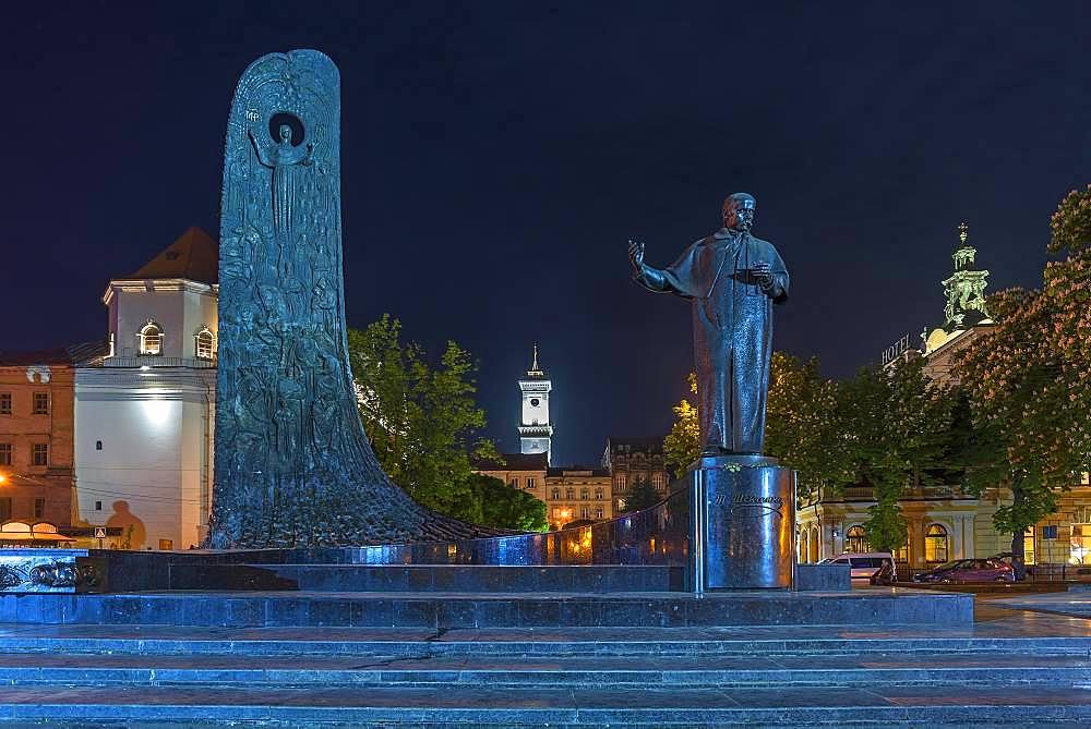Nightly lit monument by the Ukrainian poet and writer Taras Shevchenko, Lviv, Ukraine, Europe