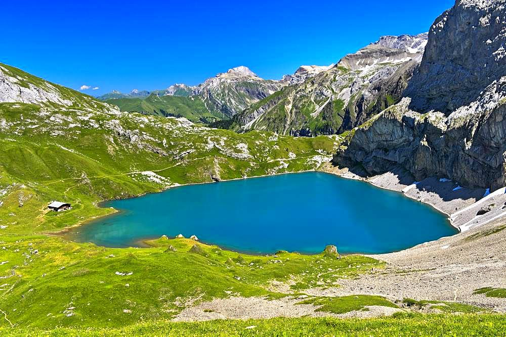 Mountain lake Iffigsee, Lenk in the Simmental, Switzerland, Europe