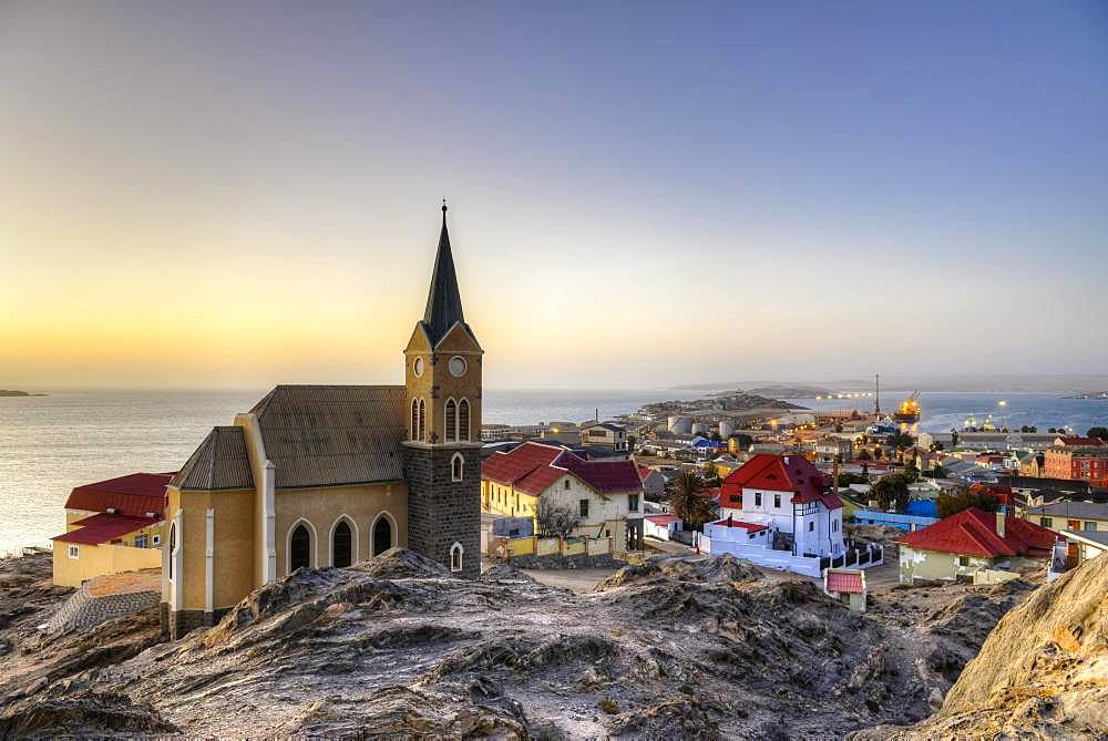 Evening atmosphere above the rock church and the city of Luederitz, Namibia, Africa