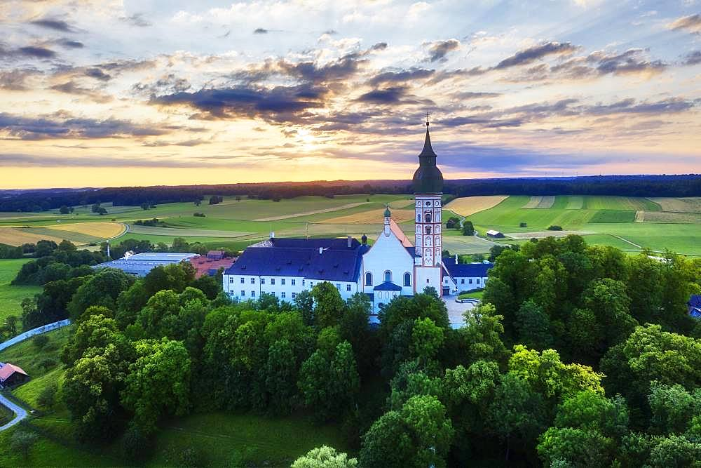 Andechs Monastery, aerial view at sunrise, five lakes, Pfaffenwinkel, Upper Bavaria, Bavaria, Germany, Europe