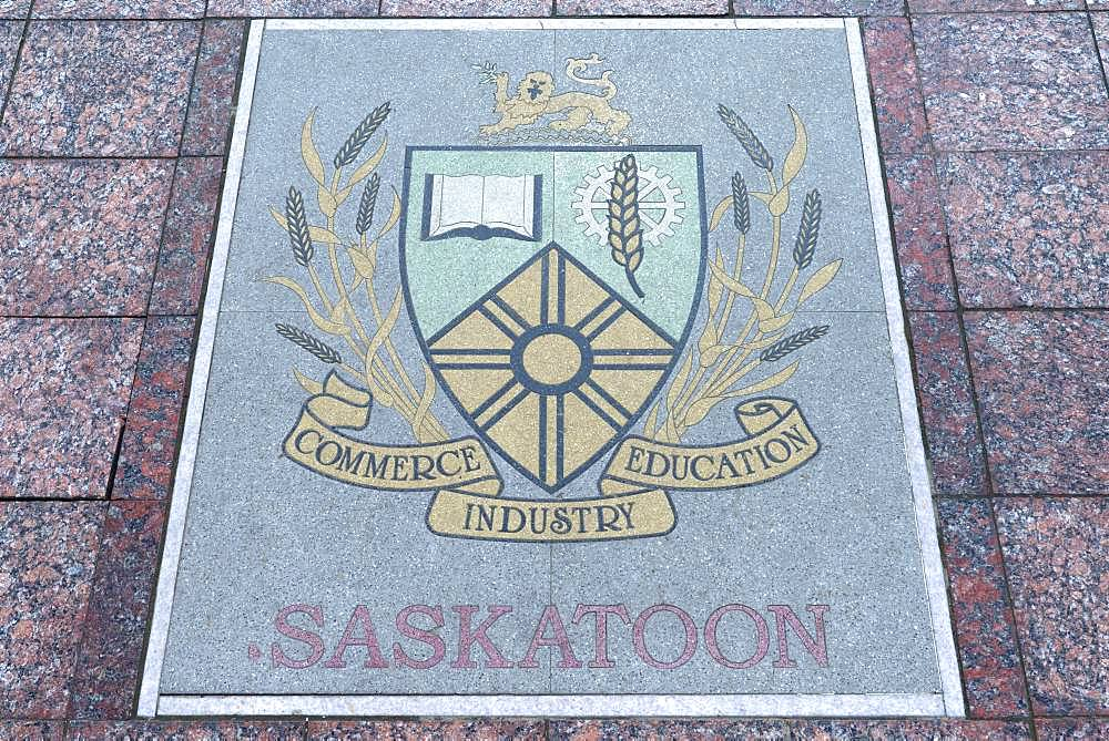 Base plate of Saskatoon, Canada, on the central square in Czernowicz, Ukraine, Europe