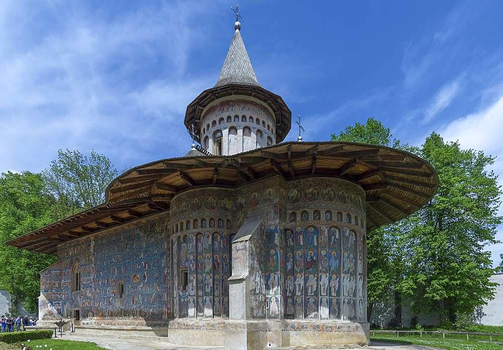 Monastery Church of St. George with wall frescoes, 1547, Unesco World Heritage Site, Voronet, Romania, Europe