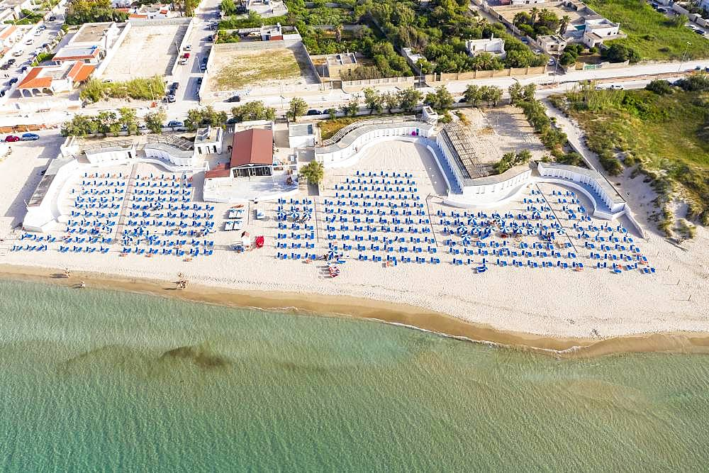 Aerial view, public beach by the sea, Spiaggiabella Beach, Torre Rinalda, Lecce, Apulia, Italy, Europe