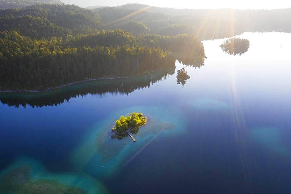 Eibsee lake with Maximilian island in the morning light, near Grainau, Werdenfelser Land, aerial view, Upper Bavaria, Bavaria, Germany, Europe