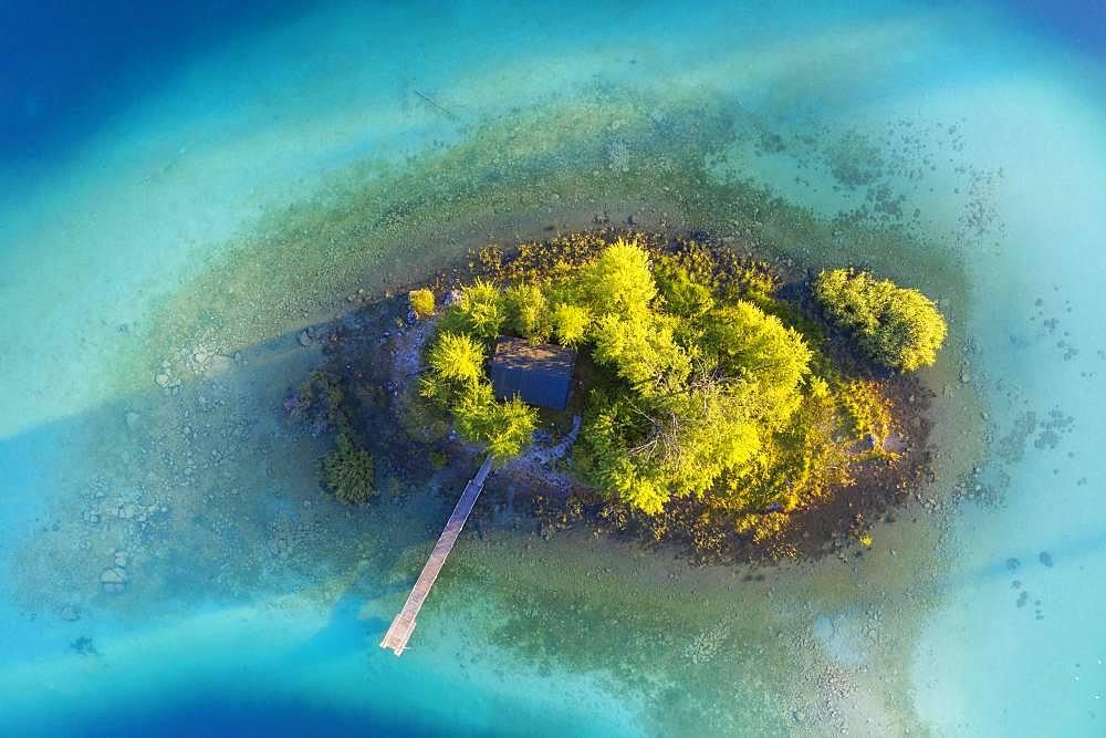 Maximilian Island in Eibsee lake, near Grainau, Werdenfelser Land, aerial view, Upper Bavaria, Bavaria, Germany, Europe