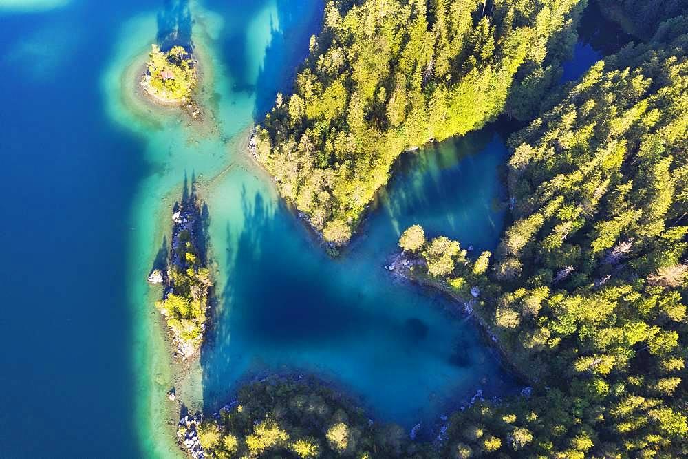 Eibsee lake with Braxen island and Schoenbichl island, near Grainau, Werdenfelser Land, aerial view, Upper Bavaria, Bavaria, Germany, Europe