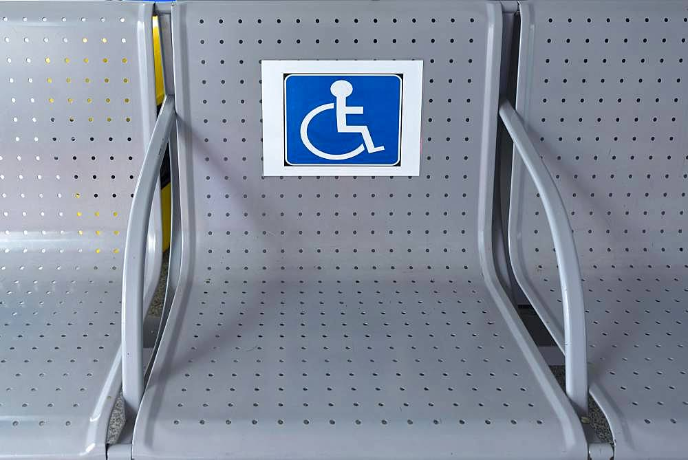 Labelling, seat for disabled persons, Romania, Europe