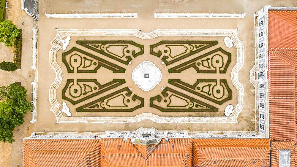 Aerial view of garden in Queluz National Palace, Lisbon, Portugal, Europe