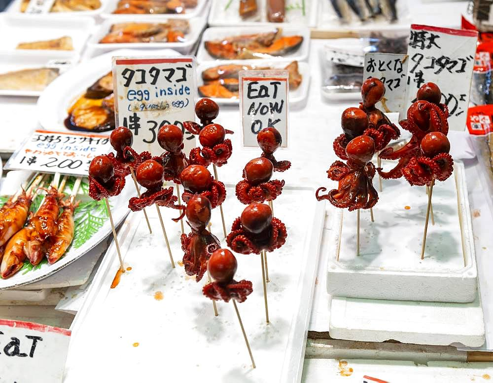Squid on skewer, sale of fish and seafood at Nishiki Food Market, Kyoto, Japan, Asia