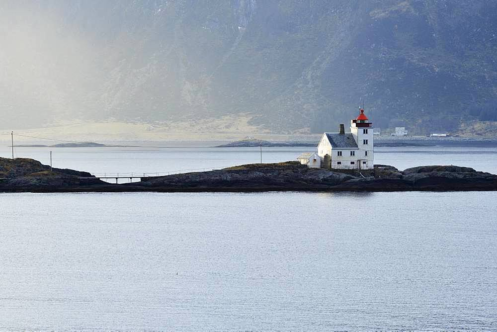 Lighthouse Flavaer on the island Varholmen, Heroyfjord, More og Romsdal, Norway, Europe