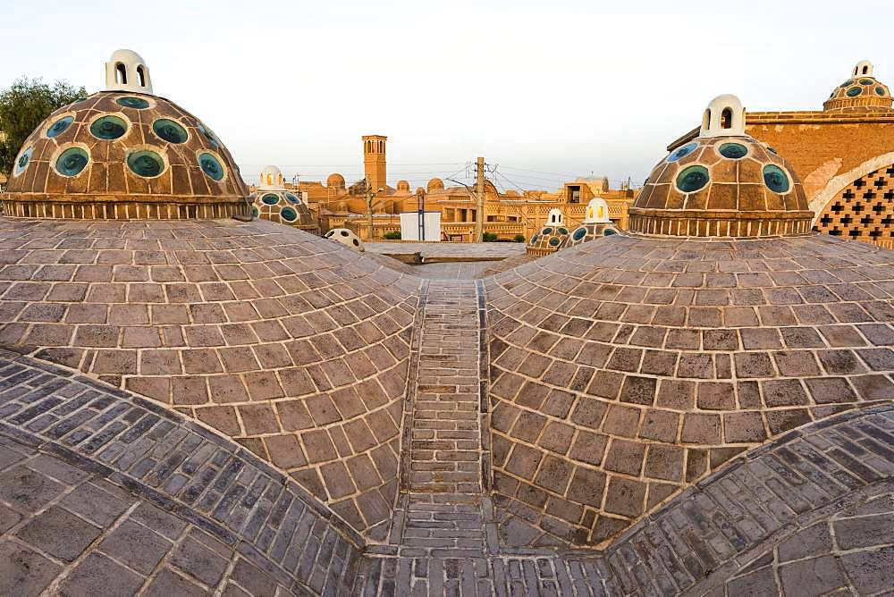 Sultan Amir Ahmad Bathhouse, Roof domes, Kashan, Isfahan Province, Iran, Asia