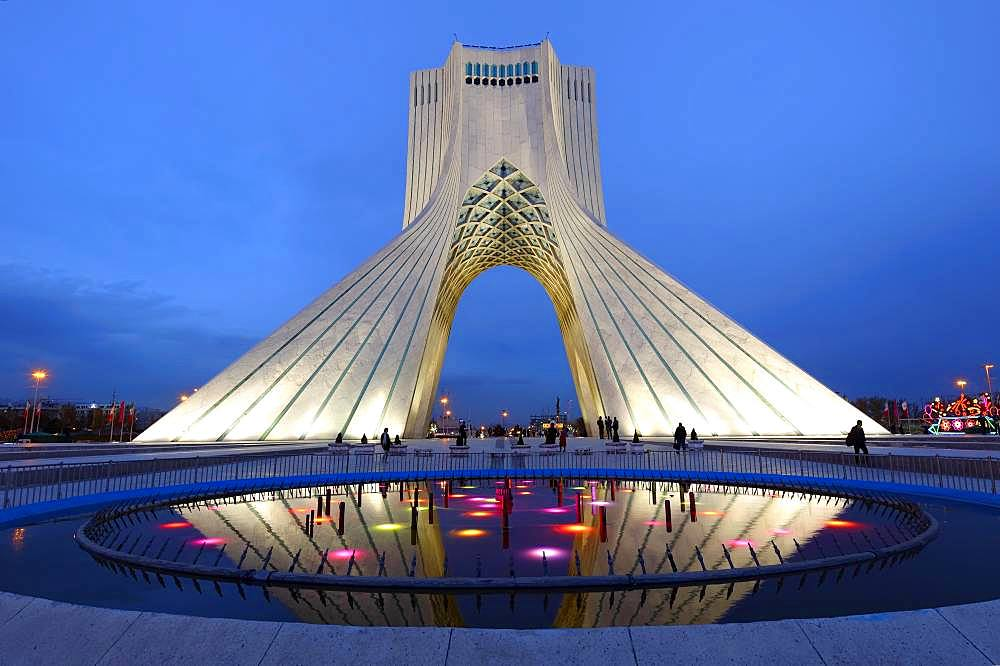 Illuminated Azadi Tower at blue hour, Tehran, Iran, Asia