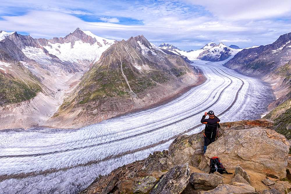 View to the Great Aletsch glacier, Canton of Valais, Switzerland, Europe